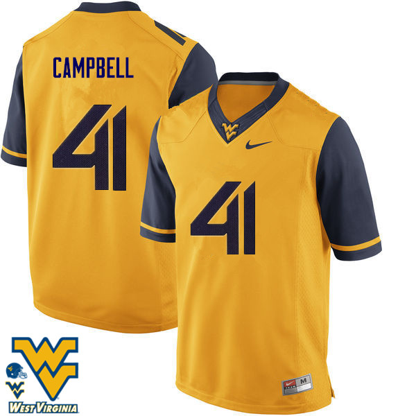 Men #41 Jonah Campbell West Virginia Mountaineers College Football Jerseys-Gold