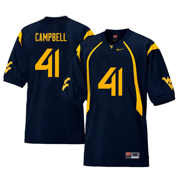 Men #41 Jonah Campbell West Virginia Mountaineers Retro College Football Jerseys Sale-Navy