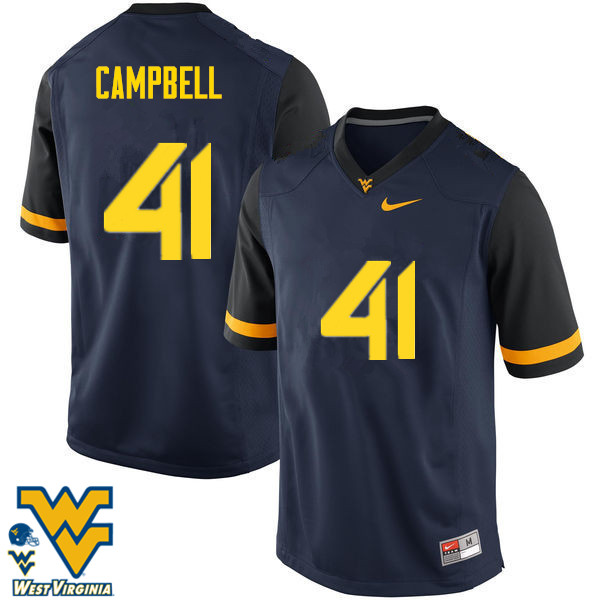 Men #41 Jonah Campbell West Virginia Mountaineers College Football Jerseys-Navy