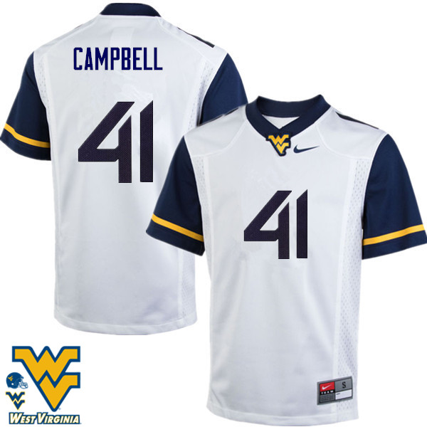 Men #41 Jonah Campbell West Virginia Mountaineers College Football Jerseys-White