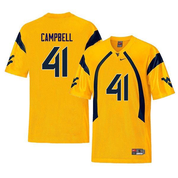 Men #41 Jonah Campbell West Virginia Mountaineers Retro College Football Jerseys Sale-Yellow