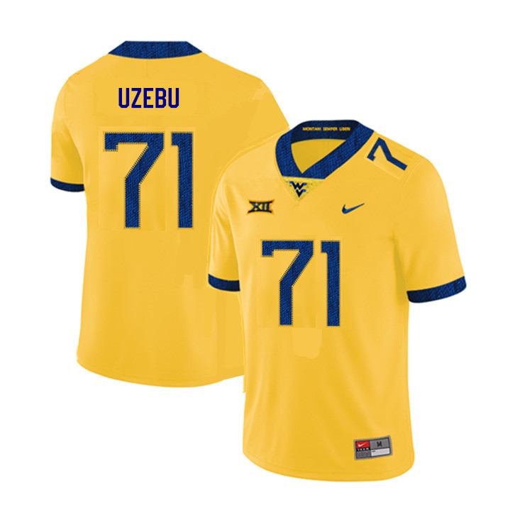 2019 Men #71 Junior Uzebu West Virginia Mountaineers College Football Jerseys Sale-Yellow