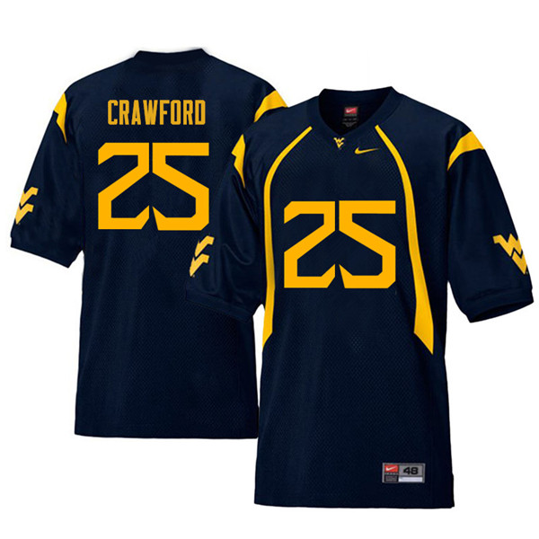 Men #25 Justin Crawford West Virginia Mountaineers Retro College Football Jerseys Sale-Navy