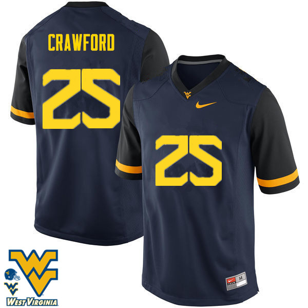 Men #25 Justin Crawford West Virginia Mountaineers College Football Jerseys-Navy