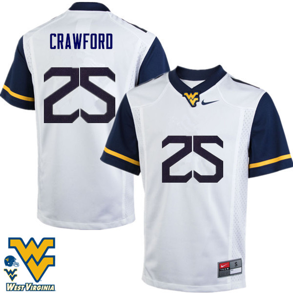 Men #25 Justin Crawford West Virginia Mountaineers College Football Jerseys-White