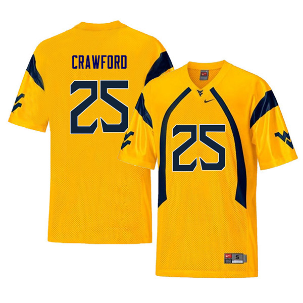Men #25 Justin Crawford West Virginia Mountaineers Retro College Football Jerseys Sale-Yellow