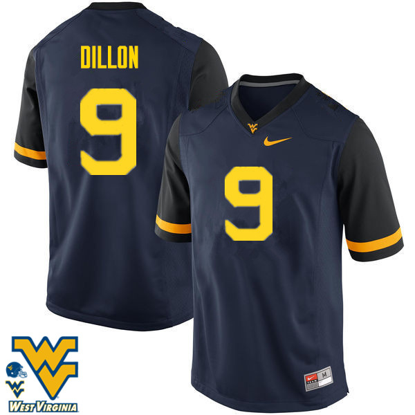 Men #9 K.J. Dillon West Virginia Mountaineers College Football Jerseys-Navy