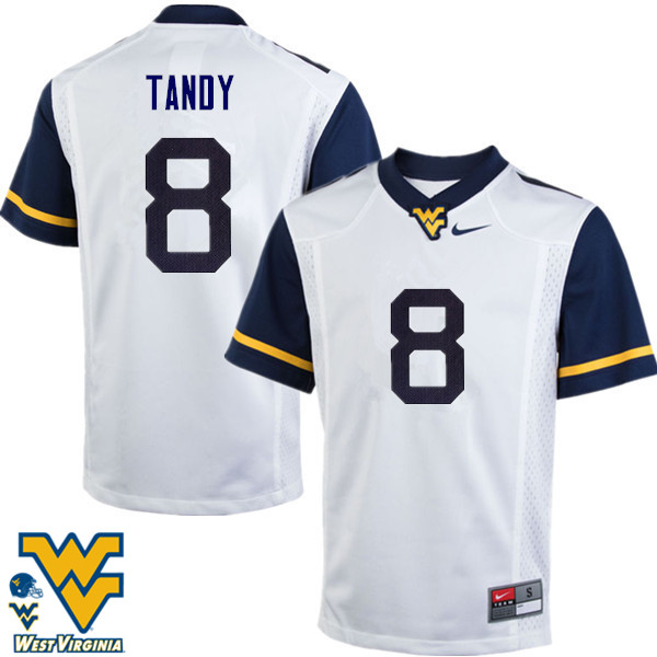 Men #8 Keith Tandy West Virginia Mountaineers College Football Jerseys-White