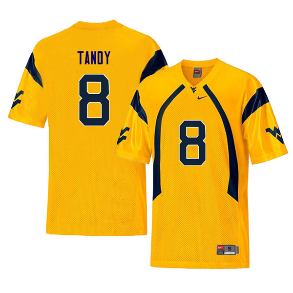 Men #8 Keith Tandy West Virginia Mountaineers Retro College Football Jerseys Sale-Yellow