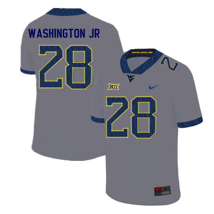 2019 Men #28 Keith Washington Jr. West Virginia Mountaineers College Football Jerseys Sale-Gray