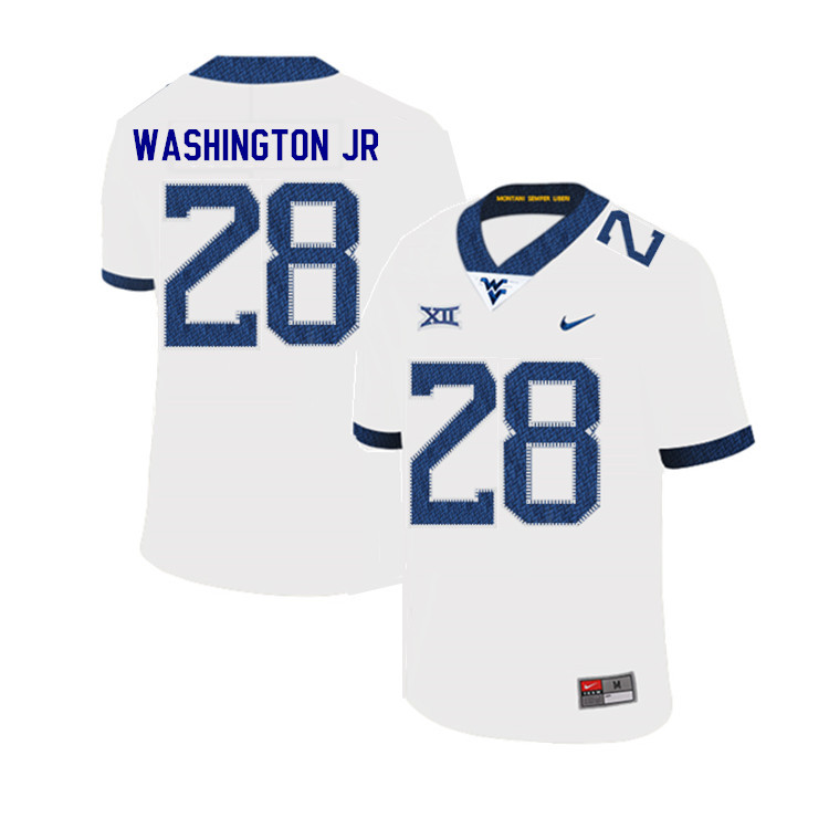 2019 Men #28 Keith Washington Jr. West Virginia Mountaineers College Football Jerseys Sale-White