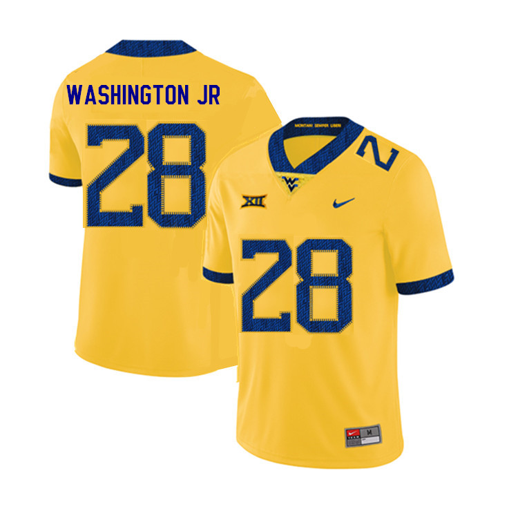 2019 Men #28 Keith Washington Jr. West Virginia Mountaineers College Football Jerseys Sale-Yellow