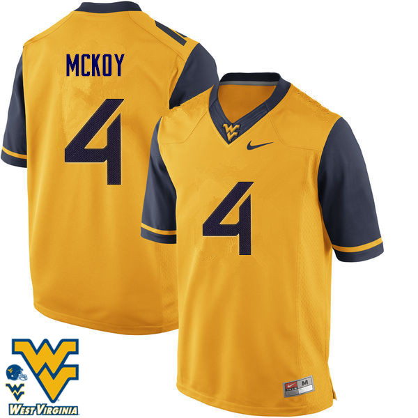 Men #4 Kennedy McKoy West Virginia Mountaineers College Football Jerseys-Gold