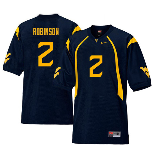 Men #2 Kenny Robinson West Virginia Mountaineers Retro College Football Jerseys Sale-Navy