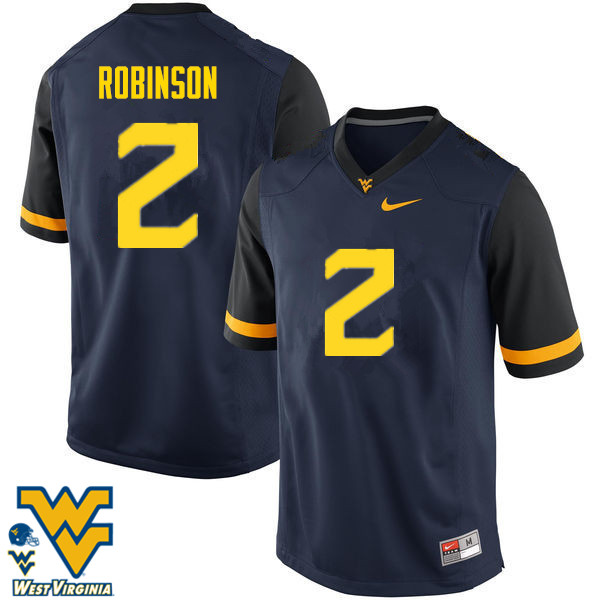 Men #2 Kenny Robinson West Virginia Mountaineers College Football Jerseys-Navy