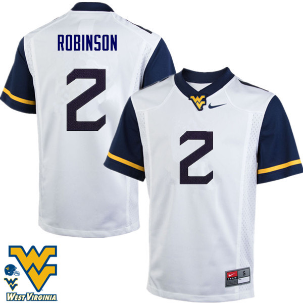 Men #2 Kenny Robinson West Virginia Mountaineers College Football Jerseys-White