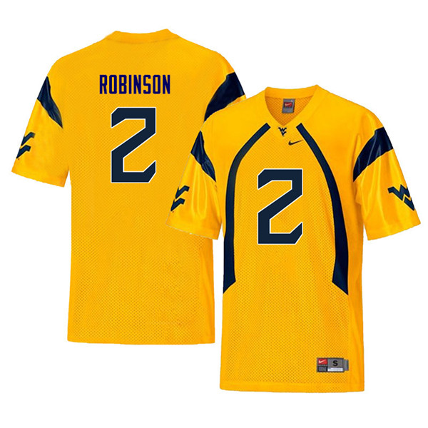 Men #2 Kenny Robinson West Virginia Mountaineers Retro College Football Jerseys Sale-Yellow