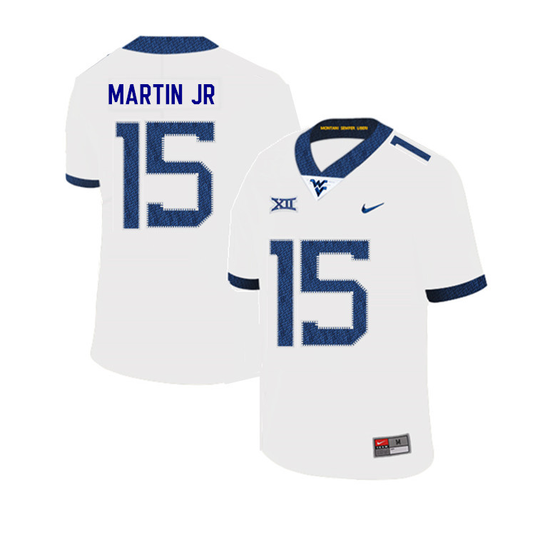 2019 Men #15 Kerry Martin Jr. West Virginia Mountaineers College Football Jerseys Sale-White