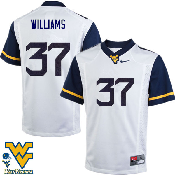 Men #37 Kevin Williams West Virginia Mountaineers College Football Jerseys-White
