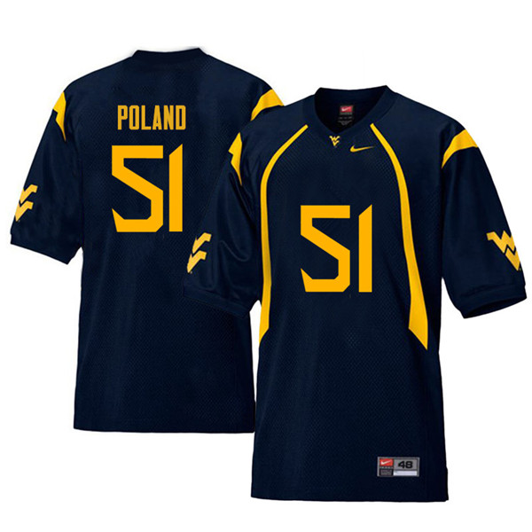 Men #51 Kyle Poland West Virginia Mountaineers Retro College Football Jerseys Sale-Navy