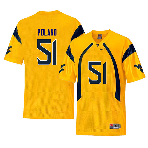 Men #51 Kyle Poland West Virginia Mountaineers Retro College Football Jerseys Sale-Yellow