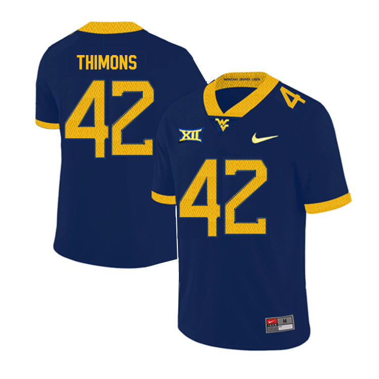 2019 Men #42 Logan Thimons West Virginia Mountaineers College Football Jerseys Sale-Navy