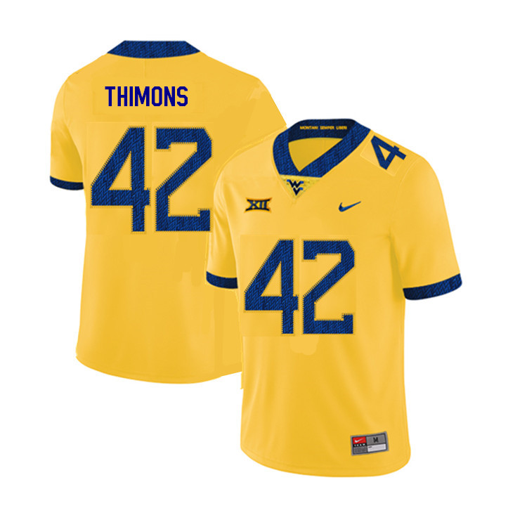 2019 Men #42 Logan Thimons West Virginia Mountaineers College Football Jerseys Sale-Yellow