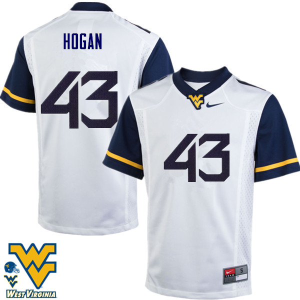 Men #43 Luke Hogan West Virginia Mountaineers College Football Jerseys-White