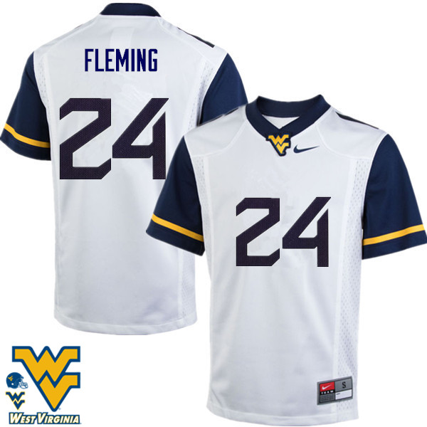 Men #24 Maurice Fleming West Virginia Mountaineers College Football Jerseys-White