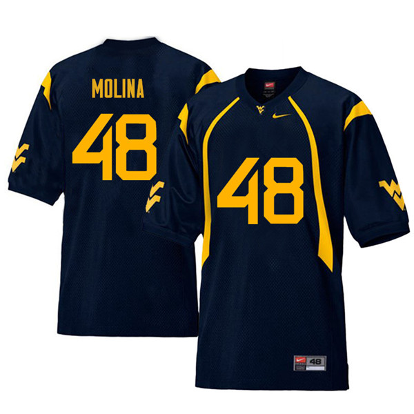 Men #48 Mike Molina West Virginia Mountaineers Retro College Football Jerseys Sale-Navy