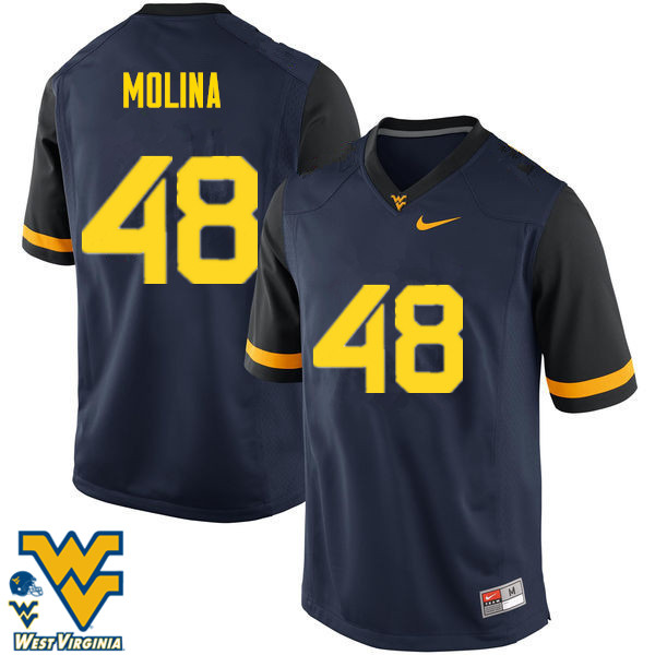 Men #48 Mike Molina West Virginia Mountaineers College Football Jerseys-Navy