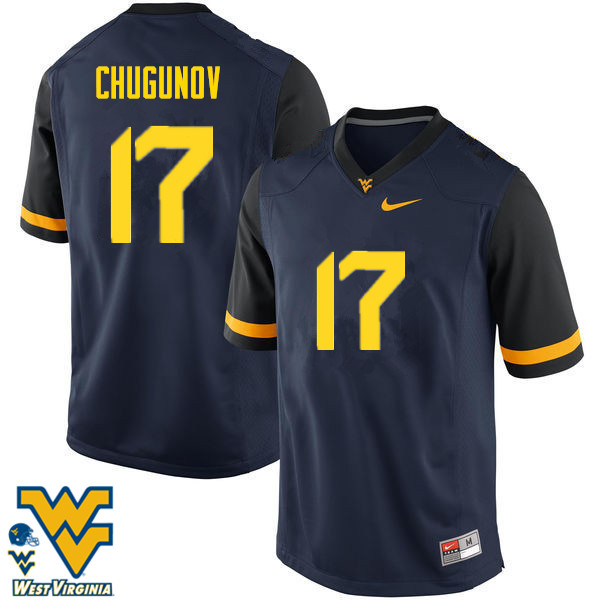 Men #17 Mitch Chugunov West Virginia Mountaineers College Football Jerseys-Navy