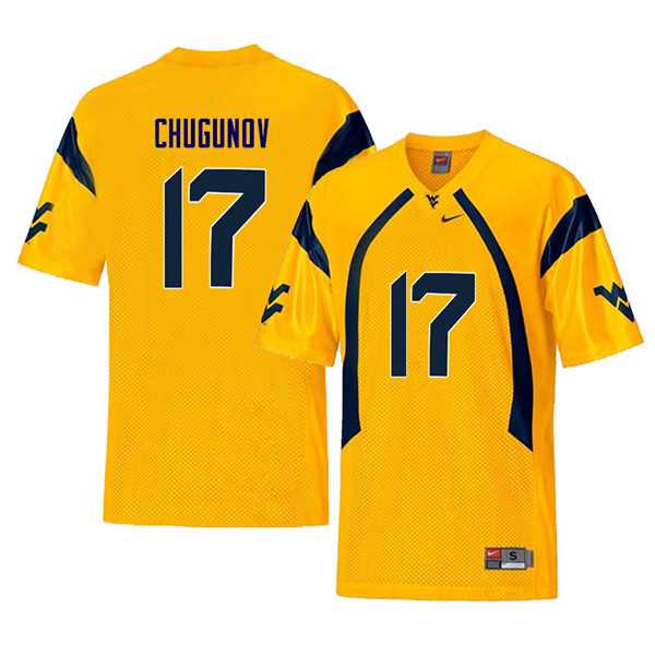 Men #17 Mitch Chugunov West Virginia Mountaineers Retro College Football Jerseys Sale-Yellow