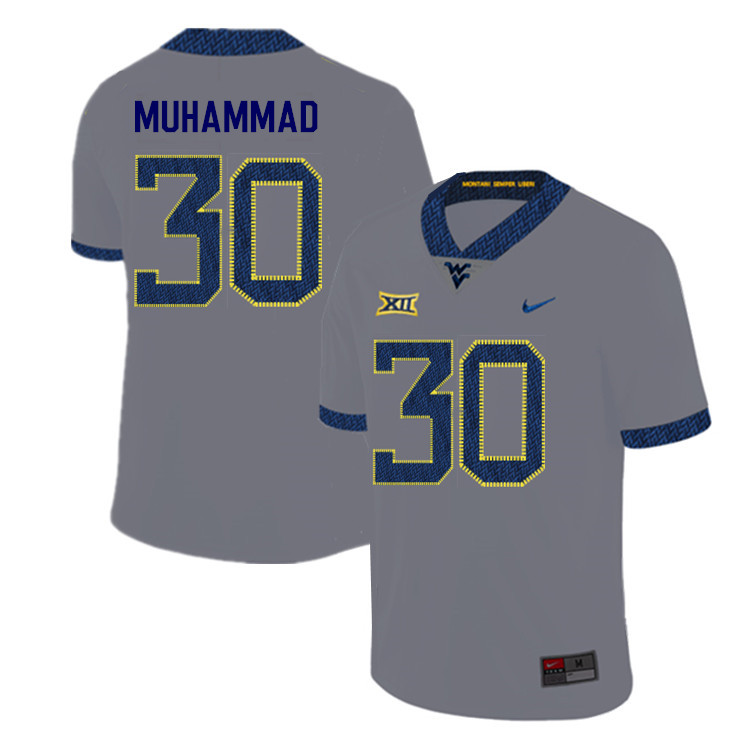 2019 Men #30 Naim Muhammad West Virginia Mountaineers College Football Jerseys Sale-Gray