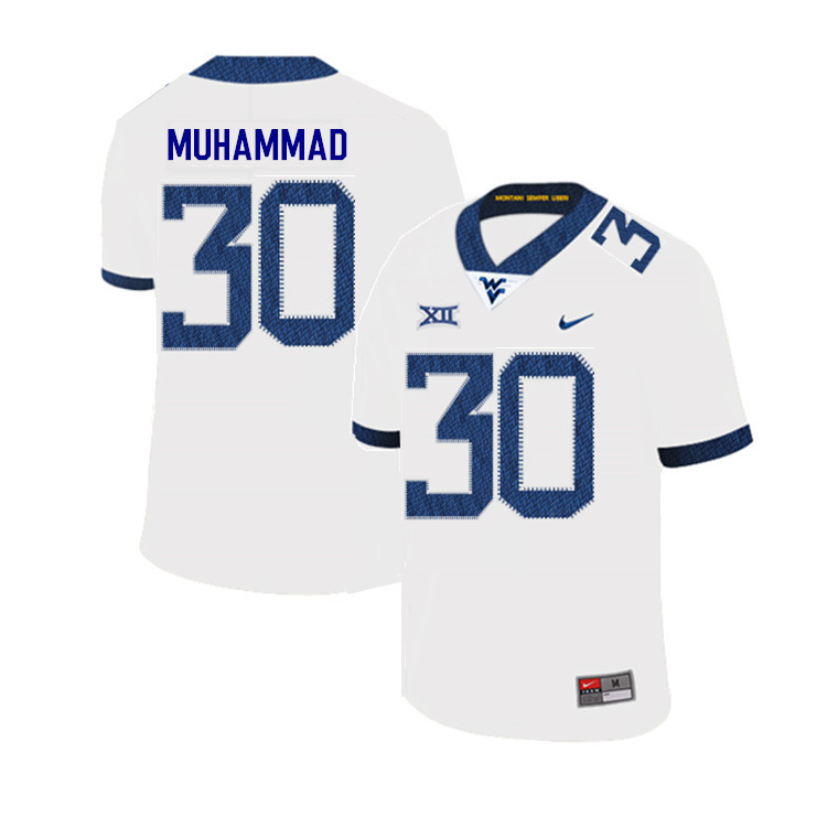 2019 Men #30 Naim Muhammad West Virginia Mountaineers College Football Jerseys Sale-White