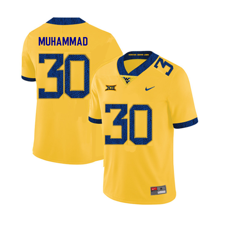 2019 Men #30 Naim Muhammad West Virginia Mountaineers College Football Jerseys Sale-Yellow