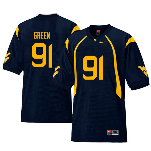Men #91 Nate Green West Virginia Mountaineers Retro College Football Jerseys Sale-Navy