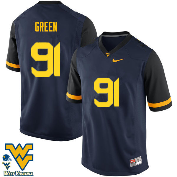 Men #91 Nate Green West Virginia Mountaineers College Football Jerseys-Navy