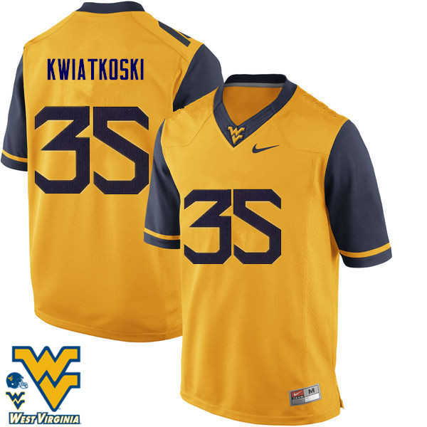 Men #35 Nick Kwiatkoski West Virginia Mountaineers College Football Jerseys-Gold
