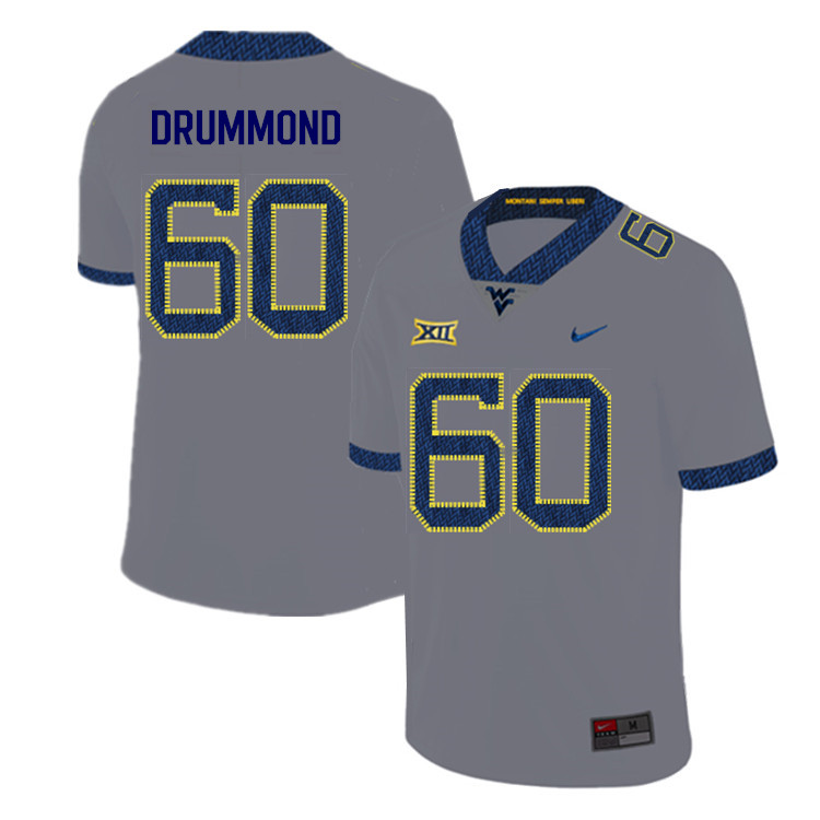 2019 Men #60 Noah Drummond West Virginia Mountaineers College Football Jerseys Sale-Gray