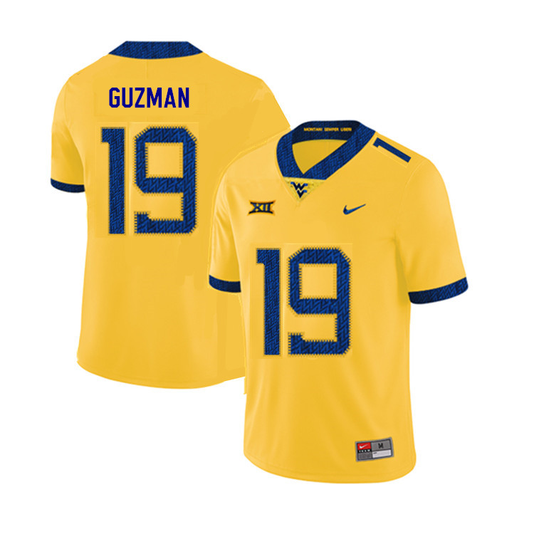 2019 Men #19 Noah Guzman West Virginia Mountaineers College Football Jerseys Sale-Yellow