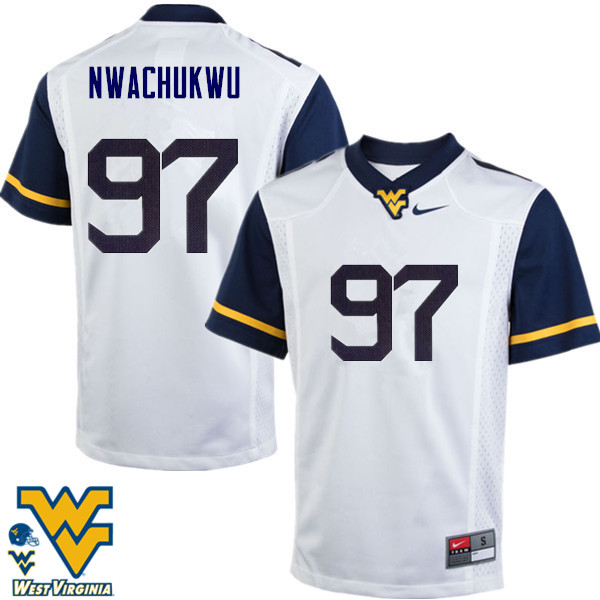 Men #97 Noble Nwachukwu West Virginia Mountaineers College Football Jerseys-White