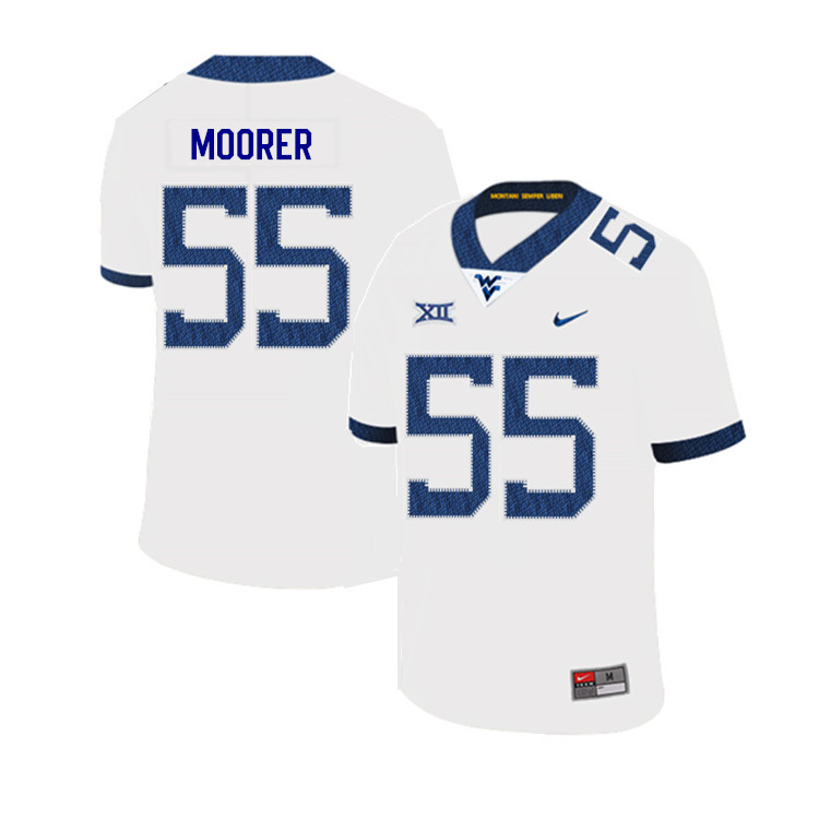 2019 Men #55 Parker Moorer West Virginia Mountaineers College Football Jerseys Sale-White