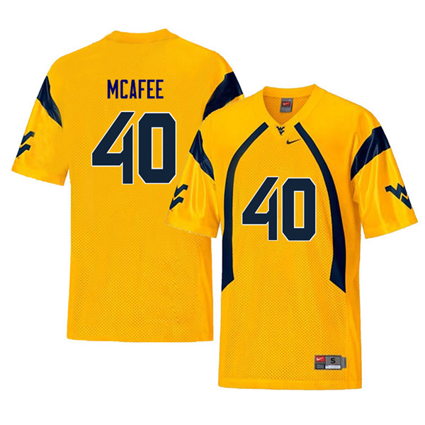 Men #40 Pat McAfee West Virginia Mountaineers Retro College Football Jerseys Sale-Yellow