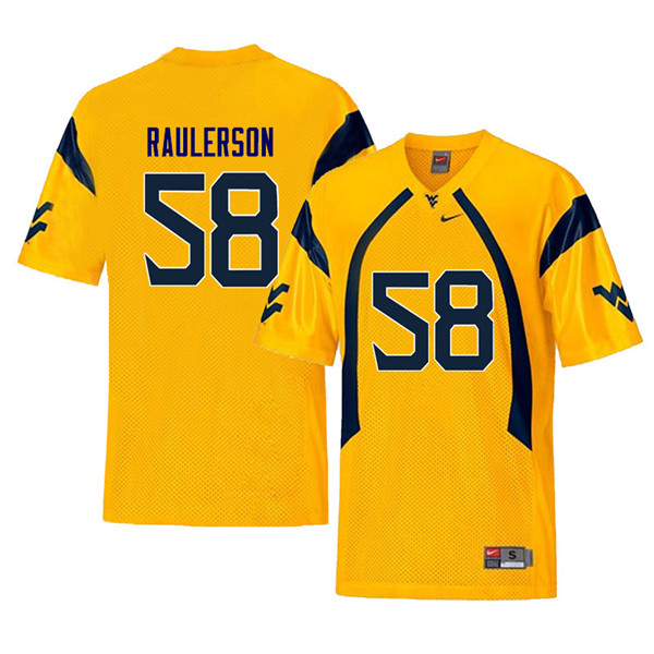 Men #58 Ray Raulerson West Virginia Mountaineers Retro College Football Jerseys Sale-Yellow