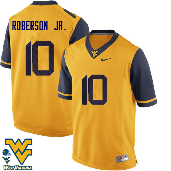 Men #10 Reggie Roberson Jr. West Virginia Mountaineers College Football Jerseys-Gold