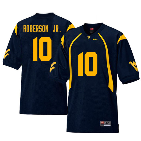 Men #10 Reggie Roberson Jr. West Virginia Mountaineers Retro College Football Jerseys Sale-Navy