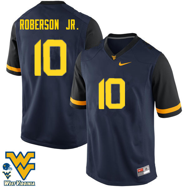 Men #10 Reggie Roberson Jr. West Virginia Mountaineers College Football Jerseys-Navy