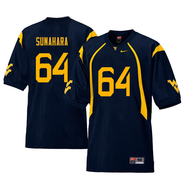 Men #64 Rex Sunahara West Virginia Mountaineers Retro College Football Jerseys Sale-Navy