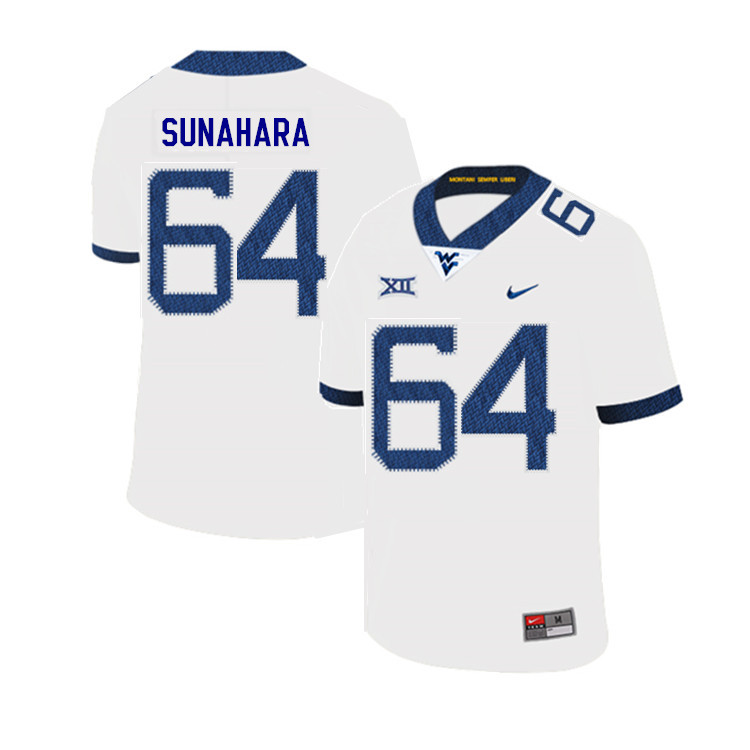 2019 Men #64 Rex Sunahara West Virginia Mountaineers College Football Jerseys Sale-White